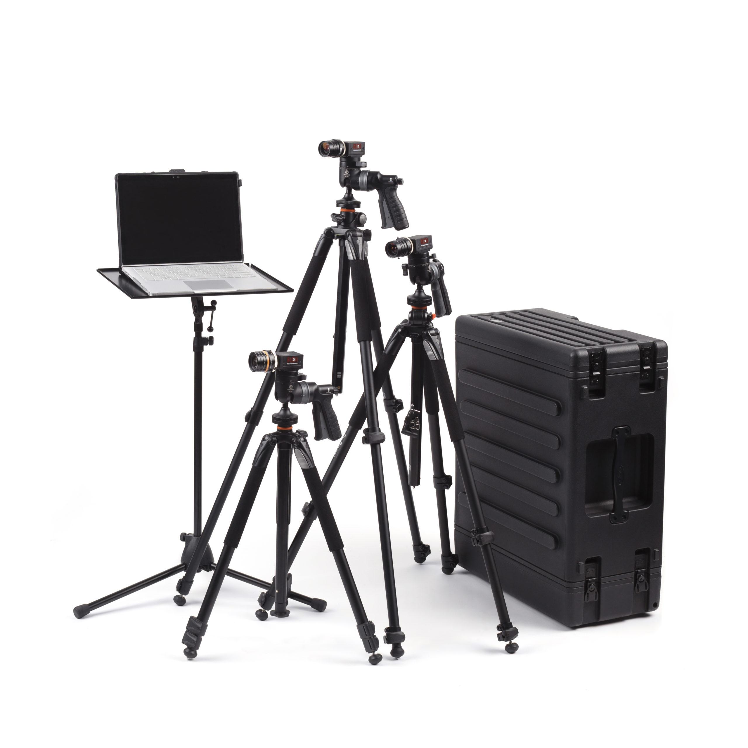 Iris CM cameras, pelican cases, laptop, and laptop stand